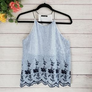Papermoon | Blue & White Stripe Embroidered Tank